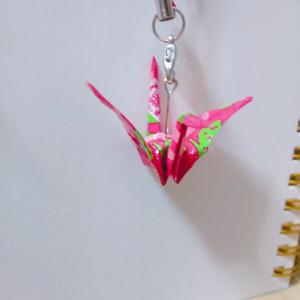 折り鶴ストラップ(赤*青)