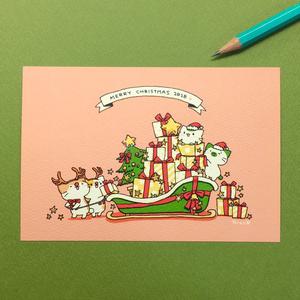 まっちゃねこ。ポストカード(ラメ付き)【クリスマス2018】