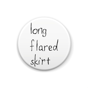 long flared skirt can badge