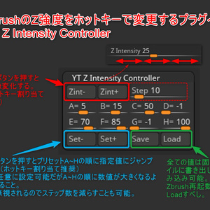 ZbrushのZ強度をホットキーで変更するプラグイン「YT Z Intensity Controller」
