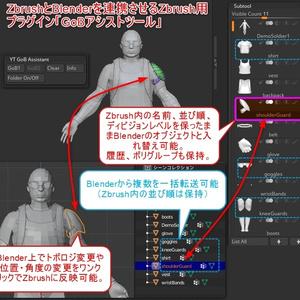 ZbrushとBlenderを連携させるZbrush用プラグイン「GoBアシストツール」