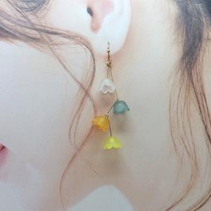 【暖色】連なるお花のピアス*イヤリング