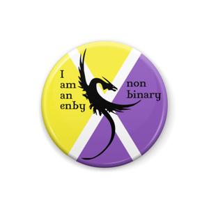 ノンバイナリー <I am an enby> 缶バッジ Dragon ver.