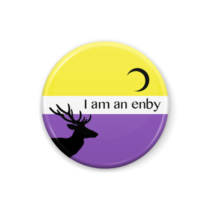 ノンバイナリー <I am an enby> 缶バッジ Deer and Moon ver.