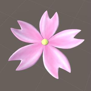 桜髪飾り(花) 3Dモデル(FBX)