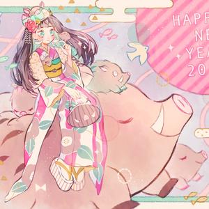 「HAPPY NEW YEAR-2019-」イラストボード