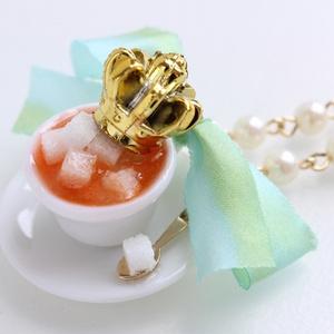 【受注生産】ティーカップ山盛り角砂糖ネックレス(シルバー/ゴールド)
