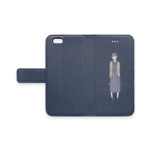 手帳型iPhoneケース/ストラップホールなし/制服とチューリップ