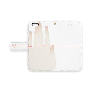 手帳型iPhoneケース/ストラップホールあり/赤い糸