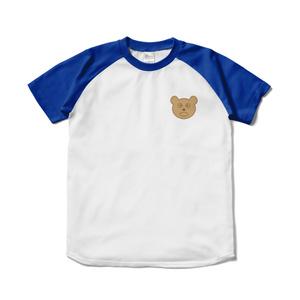 くまちゃんマークのラグランTシャツ(ブルー)
