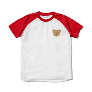 くまちゃんマークのラグランTシャツ(レッド)