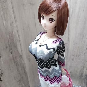 Smart Doll 七分袖ニットチュニック ボーダー柄