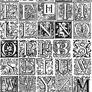 中世風素材「飾りアルファベット」30種類その3