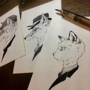 原画『スーツな狐・狼・猫』