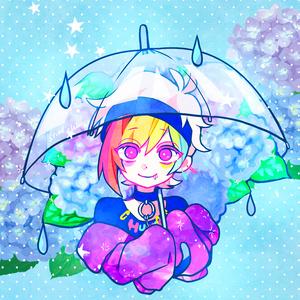 傘をさすリンタロウアクリルキーホルダー