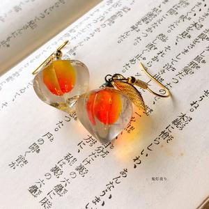氷の中に灯る炎 ガラスのようなスワロフスキー封入したレジン鬼灯 ピアス イヤリング