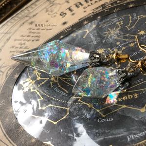 宝石の国のダイヤモンド ガラスのようなペンデュラム、鉱石レジン ピアス イヤリング