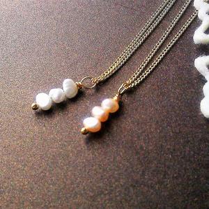 淡水パールのプチネックレス(全2色)