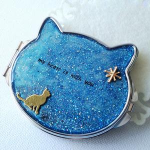 夜空の星と見上げる猫の両面ミラー