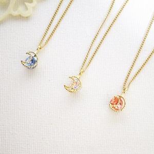 スワロフスキーとシルエットムーンのネックレス(全4色)