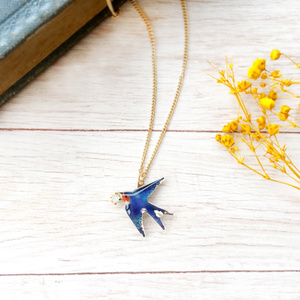 swallow necklace つばめネックレス 青い鳥 春