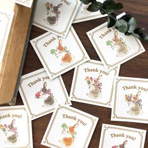 """Thank you seal """"Rabbit""""【シール35枚入り】春の花とうさぎ"""