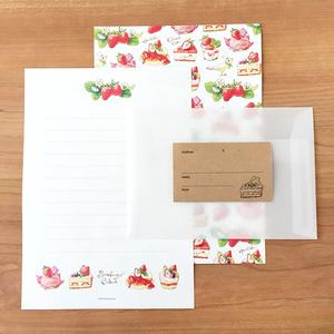 "Letterset ""StrawberryCakes"" レターセット いちごスイーツ 食べ物 春"