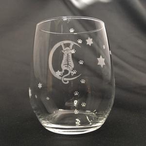 【猫狐堂】月の水際猫(にゃん)グラス※ゆる計量グラス [ 送料別 レターパックプラス ]