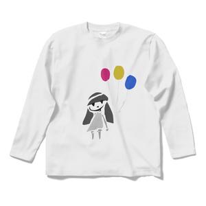 モノクロふきだし子/風船*長袖Tシャツ