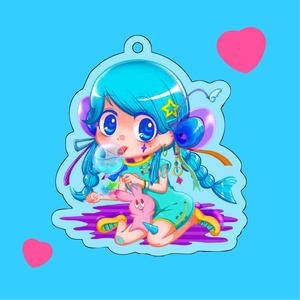 Hi Blue Girl / アクリルキーホルダー