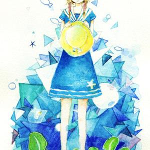 イラストカード『少女と海の反射光』