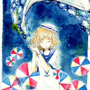イラストカード『海の音』