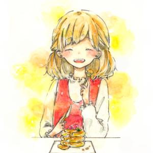 イラストカード『幸せを食べる』