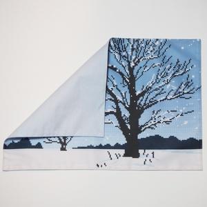 送料込!雪原(樹木)のランチョンマット・ドット絵