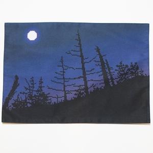 送料込!月夜の樹木 ランチョンマット・ドット絵