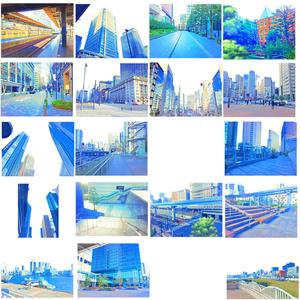 イラスト風&水彩風背景素材集 都会の背景シリーズA