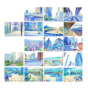 イラスト風&水彩風背景素材集 都会の背景シリーズB