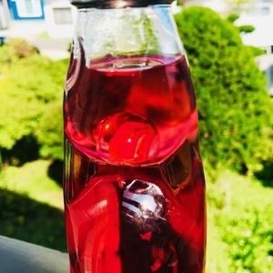 ラムネ天気管(苺・銅蓋・赤色リーフ玉)