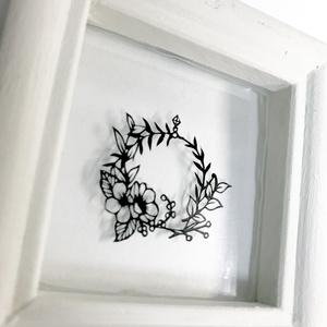 ミニ額入り切り絵原画『花のリース』