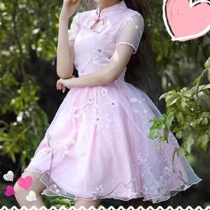 チャイナ風桜柄ワンピース