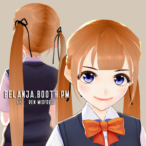 Hair 【Vroid】ヘアプリセット || VRoid Hair Long Twintail Hair Bang