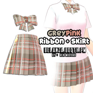 VRoid Skirt + Ribbon Color Grey and Pink || VRoid studio texture school uniform 制服 || clothes outfit