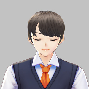 Hair 【Vroid】ヘアプリセット || 男性 VRoid Hair Guy Men with Bang Brown Color version 2 ヘア