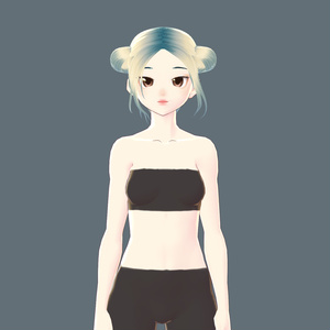 Hair【Vroid】ヘアプリセット || VRoid Hair Double Bun ヘア