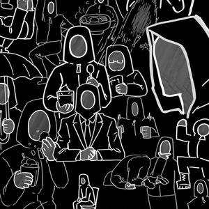 [黒・モノクロ]無表情で密集するマン
