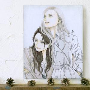 キャンバス印刷(『羣青』二人)