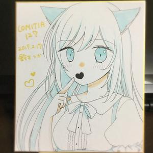 オリジナル 猫耳っ娘 色紙