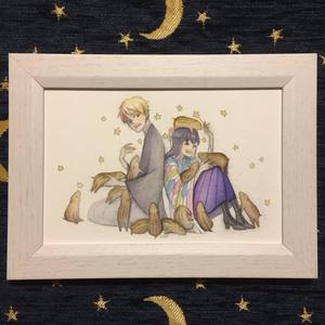 【創作】原画 マホちゃんとユウくんとウリぼう