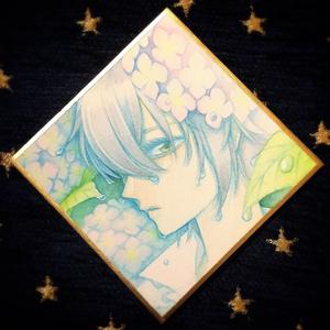 【まほやく】ネロと紫陽花 原画(ミニ色紙)