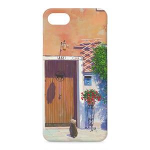 iphoneケース 玄関先の花と犬
